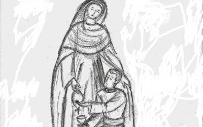 Sculpture d'une statue de «Marie qui garde les prêtres»