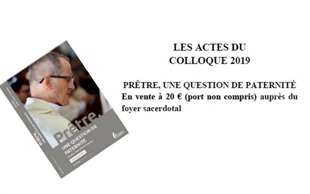 Les Actes du colloque 2019 sur la paternité sont maintenant édités !